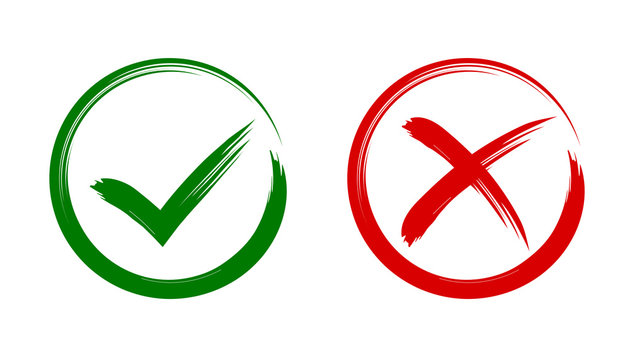 Check mark, tick and cross brush signs, green checkmark OK and red X icons, symbols YES and NO button for vote, decision, election choice, web - stock vector