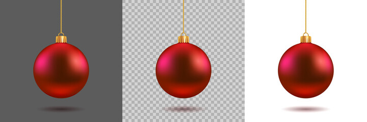 Red Christmas ball on gray, transparent and white background. New year toy decoration - stock vector