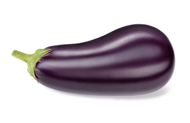 Wall Mural - single ripe eggplant isolated on white background