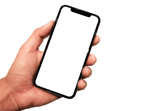 Studio shot of Smartphone  iphoneX with blank white screen for Infographic Global Business Plan, model  iPhone 11 Pro or iPhone x Max.- Clipping Path