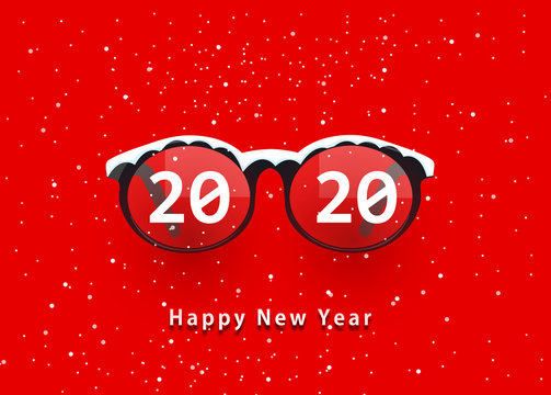 Glasses and 2020. happy new year 2020. 2020 on glasses