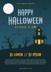 Happy halloween business flyer design template, vector illustration