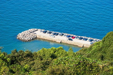 Landscape of breakwater and cars coming to leisure ,Awaji island ,Hyogo,Japan