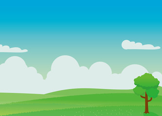 Autocollant pour porte Bleu Nature landscape vector illustration with green field and blue sky. Nature landscape vector background.