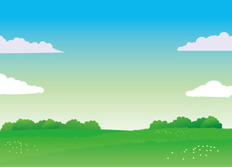 Nature landscape vector illustration with green field and blue sky. Nature landscape vector background.