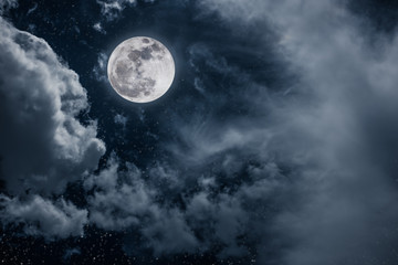 Foto op Canvas Zwart Night sky with bright full moon and cloudy, serenity nature background.