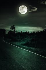 Fototapete - Dark sky with full moon and roadway through suburban zone.