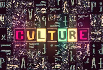 The word Culture as neon glowing unique typeset symbols, luminous letters culture Fototapete