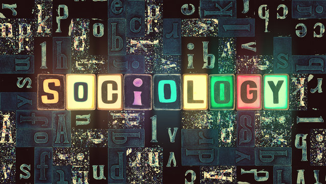 The word Sociology as neon glowing unique typeset symbols, luminous letters sociology