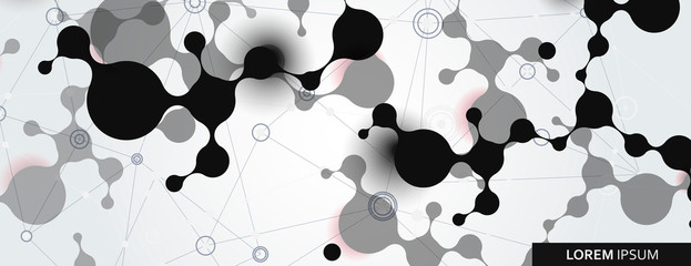Vector abstract with connection molecules, atoms and DNA background