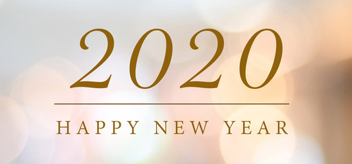 Happy New Year 2020 on blur abstract bokeh background, new year greeting card, banner Fototapete