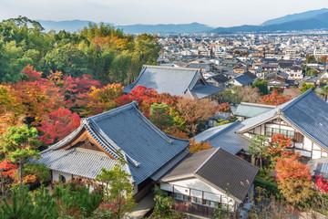 Fototapete - Idyllic landscape of historical city Kyoto city, Japan in autumn season