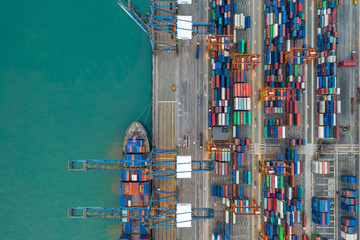 Kwai Tsing Container Terminals from drone view Wall mural