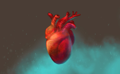 Digital art illustration painting design style a human heart floating in the air, against blue misty.