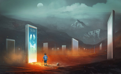 Digital illustration painting design style a boy and football standing in front of devil in mobile phone, against many mobile phone and tablets, kids with technology concept.