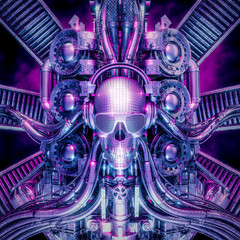 The disco machine / 3D illustration of shiny metallic chrome disco ball skull music machine