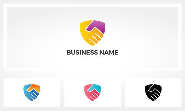 Combination Of Handshake And Shield Logo Design