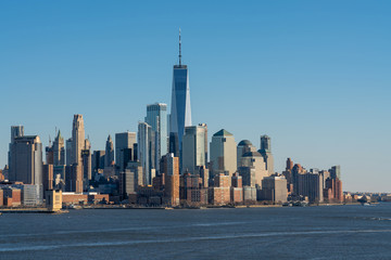 Fotomurales - Scene of New york cityscape river side which location is lower manhattan which can see One world trade conter, USA, Taking from New Jersey