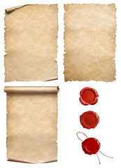 Vintage papers with wax seal stamps set isolated