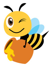 Cartoon cute happy bee carry a big honey pot fill with fresh organic honey - Flat art vector character