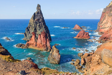 Volcanic rock formations at Ponta de Sao Lourenco, the most eastern part of Madeira island, Portugal