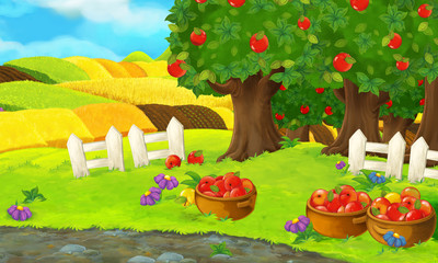 Cartoon scene with apple garden on the farm during beautiful day - illustration for children