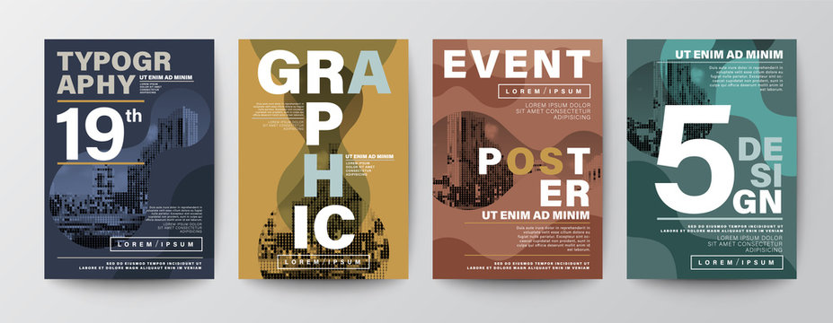 Set of Modern Graphic Design Poster layout. Typography on fluid form shape with natural color scheme background for Poster, Brochure, Flyer, Leaflet, Book cover, Banner. Template in A4 size.