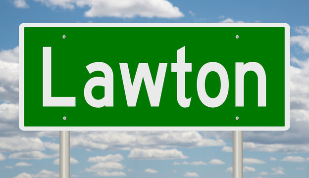 Rendering of a green road sign for Lawton Oklahoma