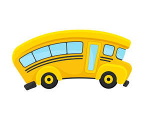 Yellow School Bus With Curved Roof In Comic Style Vector Illustration