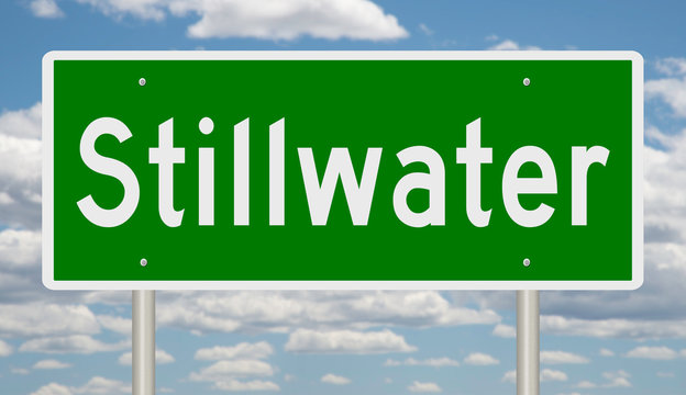 Rendering of a green road sign for Stillwater Oklahoma