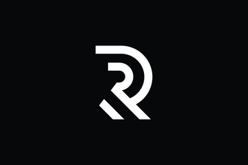 Outstanding professional elegant trendy awesome artistic black and white color R RR RP PR initial based Alphabet icon logo.