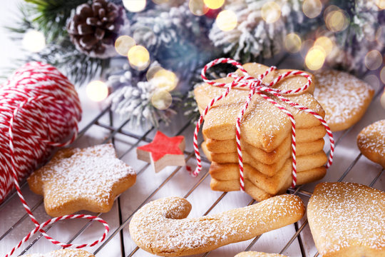 Home made Christmas shortbread cookies