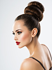 Beautiful sensual woman with creative hairstyle