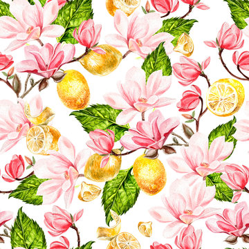 Seamless background with watercolors magnolia and lemon.