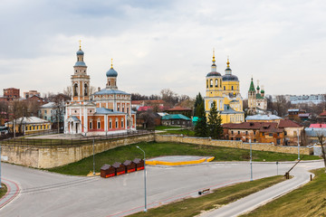 Orthodox churches in the city of Serpukhov, Moscow Region, Russia, in the historical center of the city, on Volodarsky Street, on the site of a historic city posad.