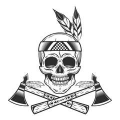 Skull of american indian tribe with tomahawk logo. Vector illustration in monochrome style