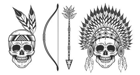 Set of skull in indian headwear in monochrome style. Vector illustration