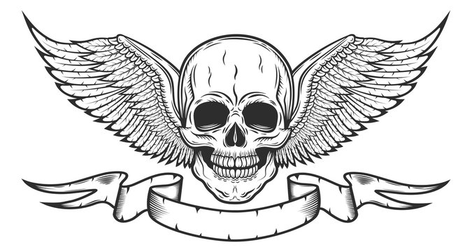 Vintage monochrome logo template with skull and eagle wings with ribbon isolated vector illustration