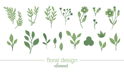 Vector green floral clip art set. Flat trendy illustration with flowers, leaves, branches, berries. Meadow, woodland, forest, garden elements isolated on white background. Hand drawn plant elements.