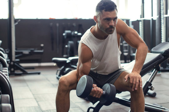 Fit and muscular man doing biceps workouts with dumbbells in gym, copy space.