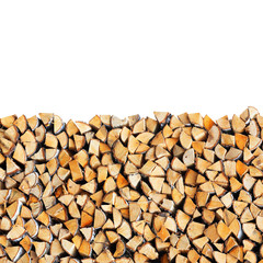 Woodpile of birch firewood isolated on white background