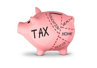High tax concept, divided piggy bank