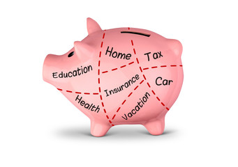 budget planning concept, piggy bank divided into parts