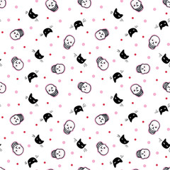 Seamless vector day of the dead folk art pattern with hand drawn shugar scull in black and white, cat and dot. Funny and happy design for your perfect party.