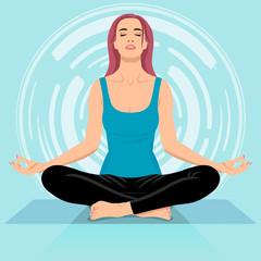 Заголовок Young woman meditating in sitting pose, minimalis comics style illustration, light color scheme