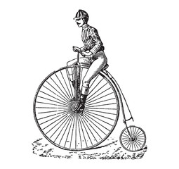 Vintage engraving of a man riding a bike