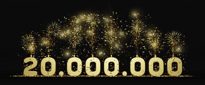 twenty million followers or prize black background 3D rendering