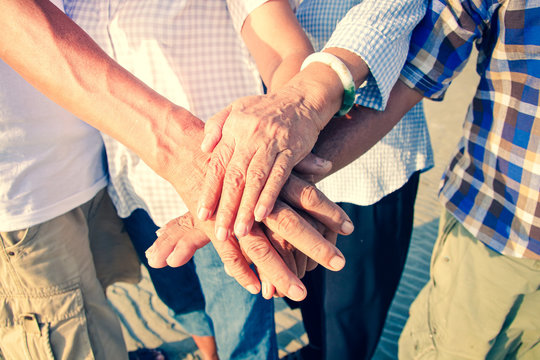 The concept of a group of seniors working together for socializing Living in retirement