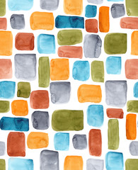 Color blocking: Hand-painted watercolor rectangle shapes in autumnal colors olive, teal, orange, rust and turquoise as a seamless surface pattern design