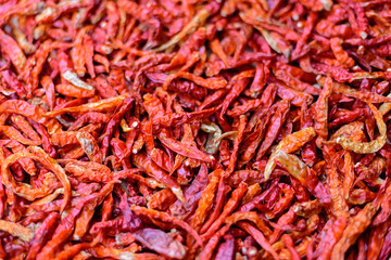 A close up shot of dried chillies Allow to dry before crushing for flavoring. The picture shows the surface of peppers, perfect for making a background image or adding a copy space.